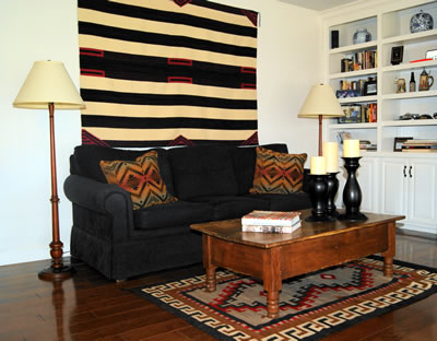 Living Room With Chiefs' Navajo Blanket and Bisti Navajo Rug