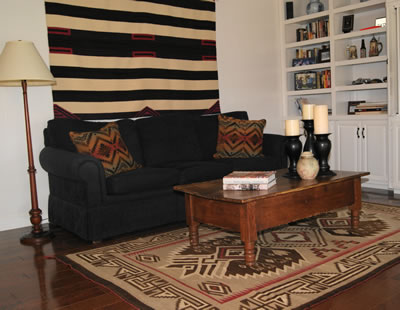 Living Room With Chiefs' Navajo Blanket and Large Bisti