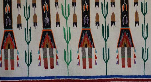 Four Female Yei Guarded by a Rainbow Guardian Yei Navajo Rug Weaving for Sale 877