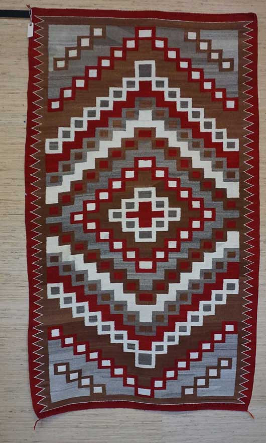 Ganado Navajo Rug for Sale with Diamond in Center and Half Diamonds Above and Below 987 for Sale