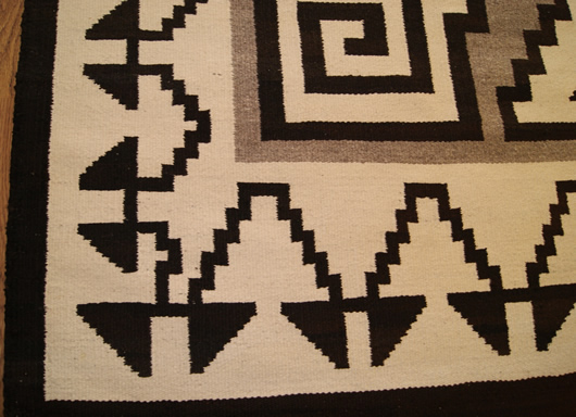 Historic Two Grey Hills Storm Pattern Variant Navajo Rug Weaving For Sale Photo 5