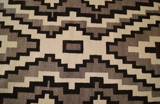 Historic Two Grey Hills Storm Pattern Variant Navajo Rug Weaving For Sale Photo 6