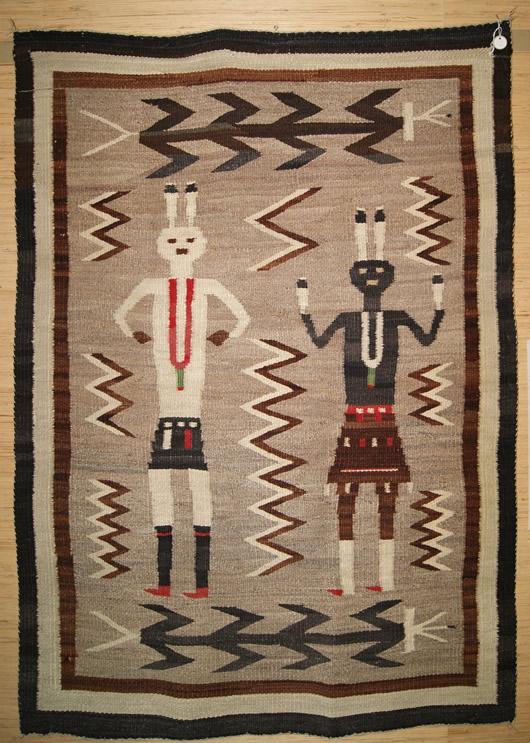 Historic Yeibichei Pictorial Navajo Rug For Sale Circa 1920