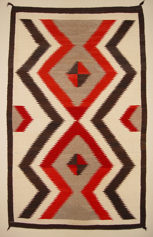 Crystal Bold Serrated Lightening Pattern Navajo Rug For Sale
