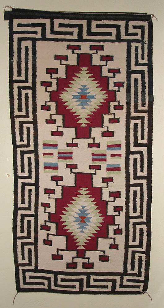 Old Crystal Double Navajo Saddle Blanket For Sale Photo 1