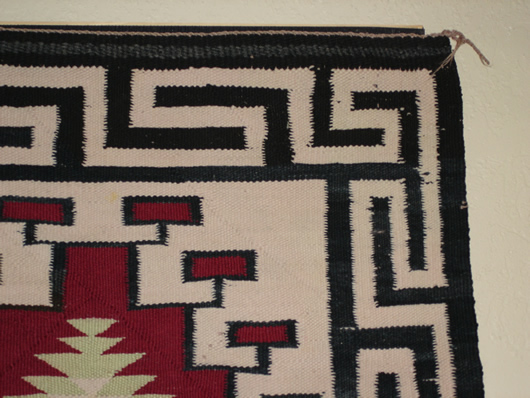 Old Crystal Double Navajo Saddle Blanket For Sale Photo 3