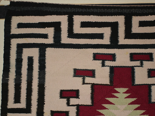 Old Crystal Double Navajo Saddle Blanket For Sale Photo 4
