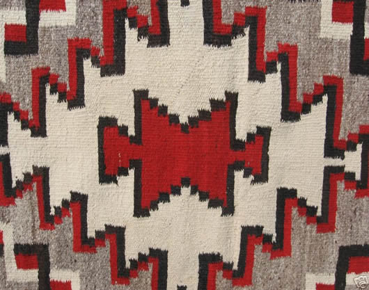 Klagetoh Black Square Frame Serrated Red Navajo Rug For Sale