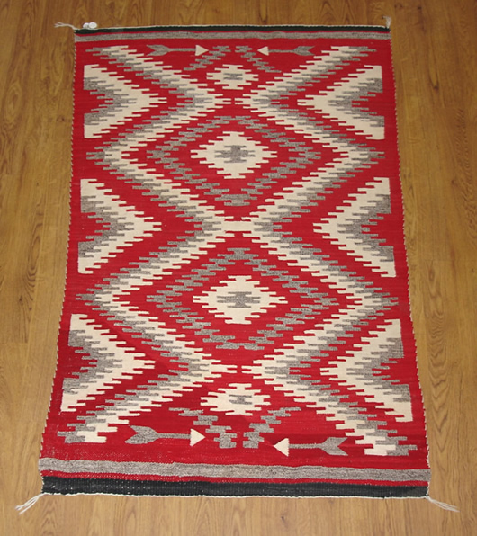 Chinle Red Diamonds With Mohair Navajo Rug For Sale