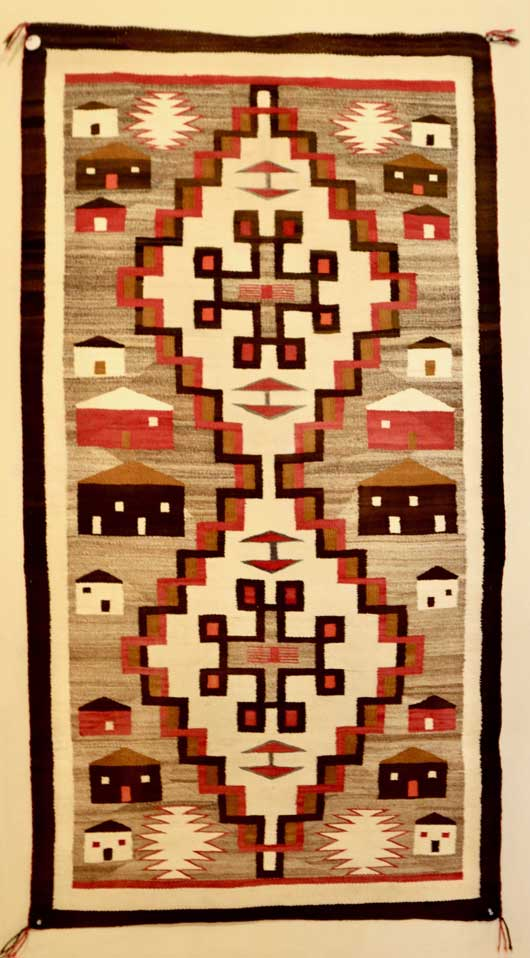 House Pictorial Navajo Rug in a Double Diamond Format