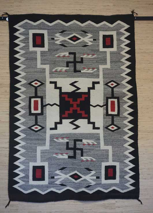 JB Moore Crystal Trading Post Storm Pattern Navajo Rug for Sale