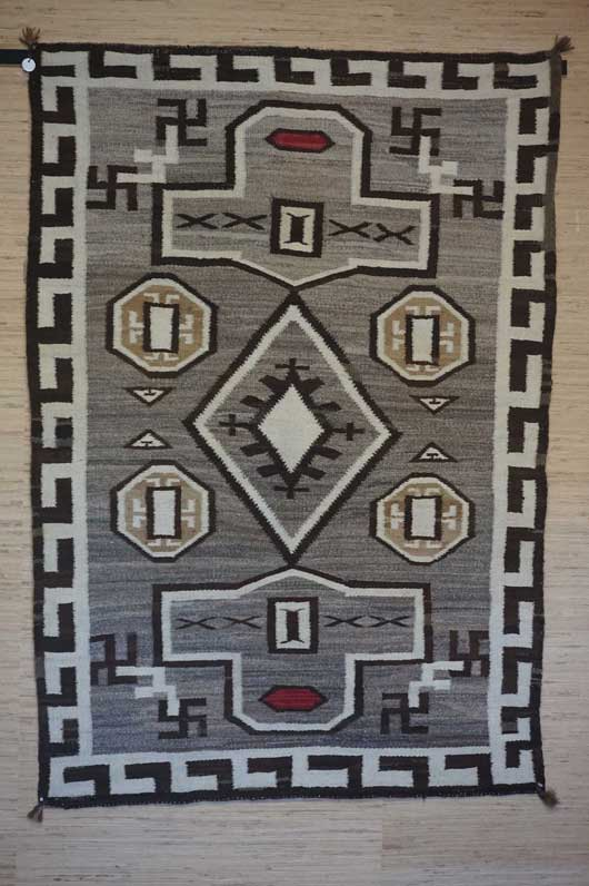 Navajo Rug variant to plate XXX in the JB Moore's Crystal Trading Post Catalog of 1911. Circa 1910 to 1920