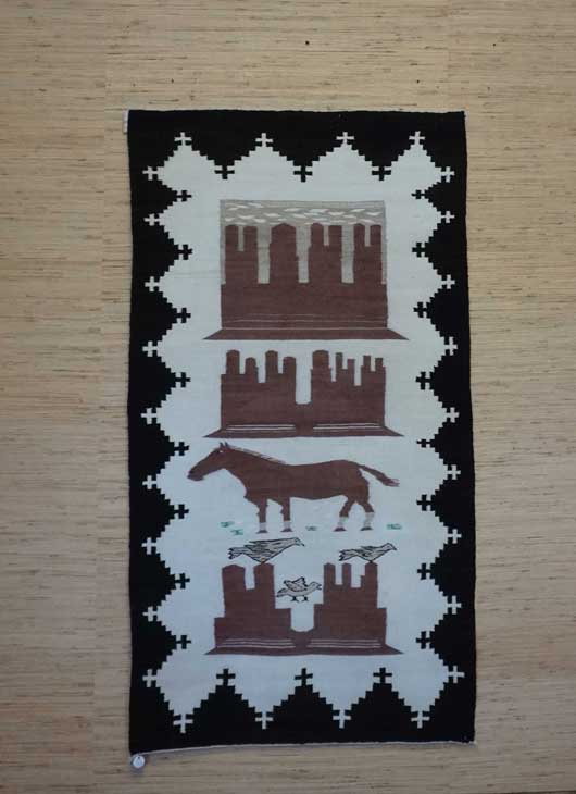 Monument Valley Pictorial Navajo Double Saddle Blanket 586