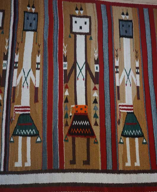 Navajo Rug Weaving for Sale Five Colorful Female Yei Protected by The Rainbow Guardian Yei 1008
