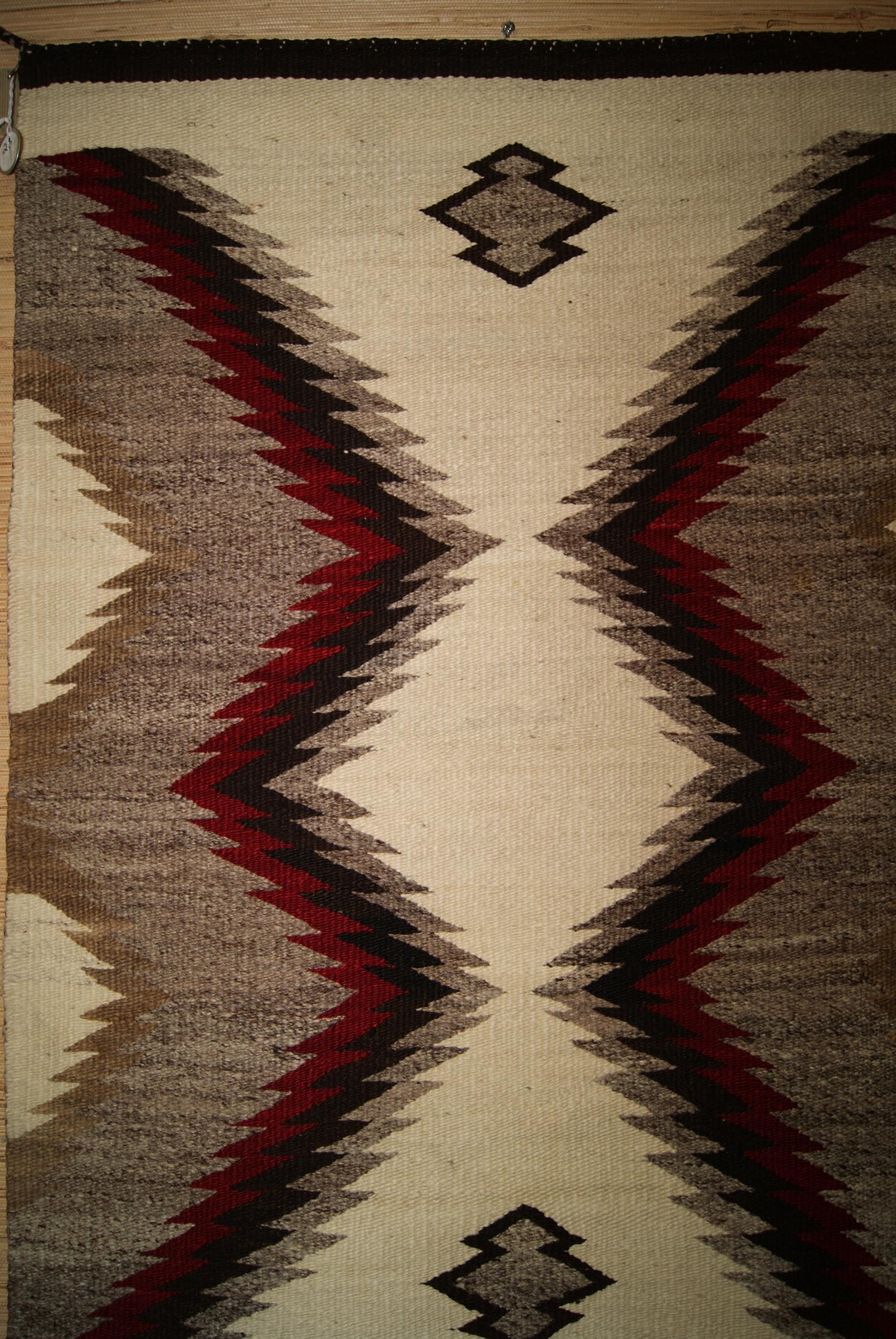 Regional Lightening Bolt Pattern Navajo Rug Weaving