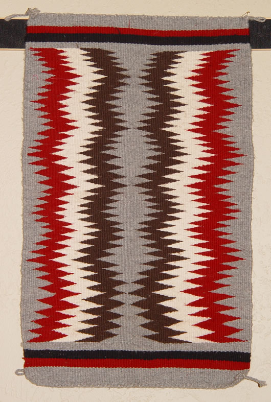 Small Lightening Bolt Pattern Navajo Rug For Sale 15 By 25