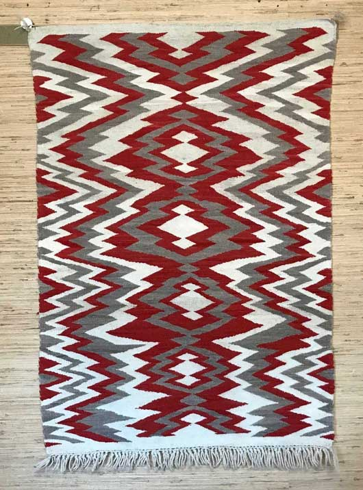 Navajo Transitional Blanket with an Exposed Warp Fringe 1146
