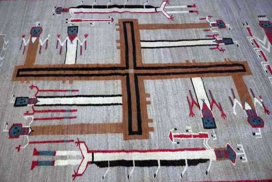Nightway Sandpainting Navajo Weaving Whirling Logs 1131J Photo 005