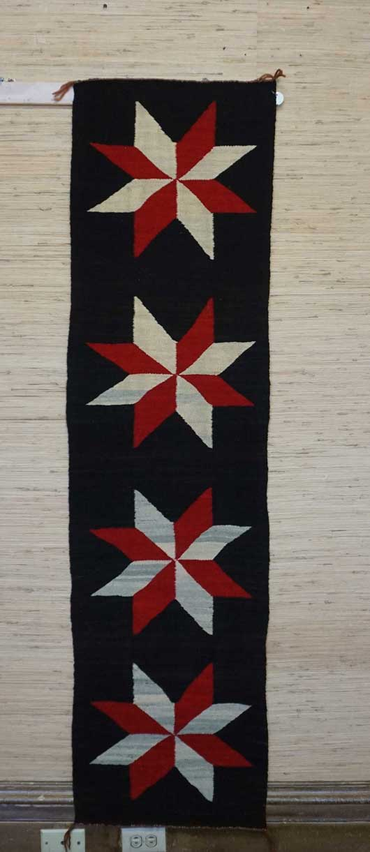 Old Crystal Navajo Rug with Valero Stars a Runner 891