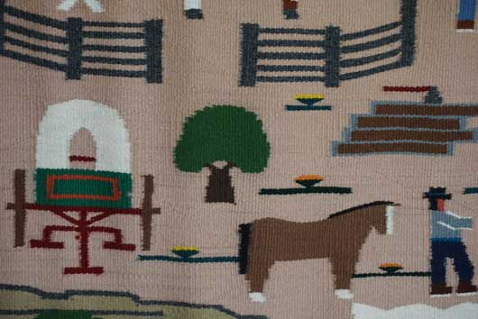 Pictorial Navajo Rug Weaving for Sale with Lots Going on at the Ranch by Pauline Glasses 879