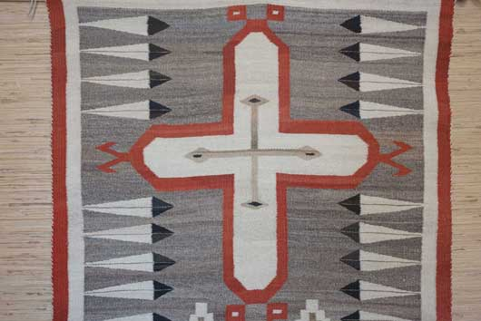 Pictorial Navajo Rug with Crosses Feathers and Diamonds 1020