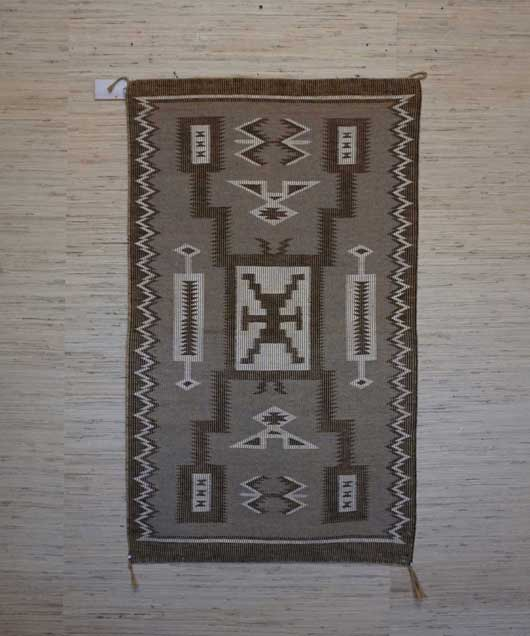Raised Outline Storm Pattern Navajo Rug Weaving 965