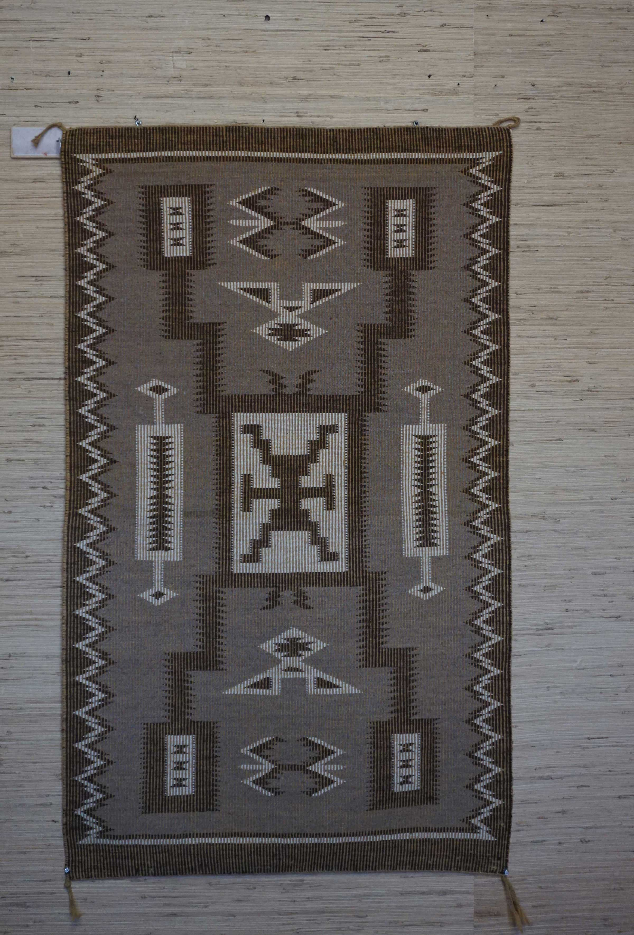 Raised Outline Storm Pattern Navajo Rug Weaving 965