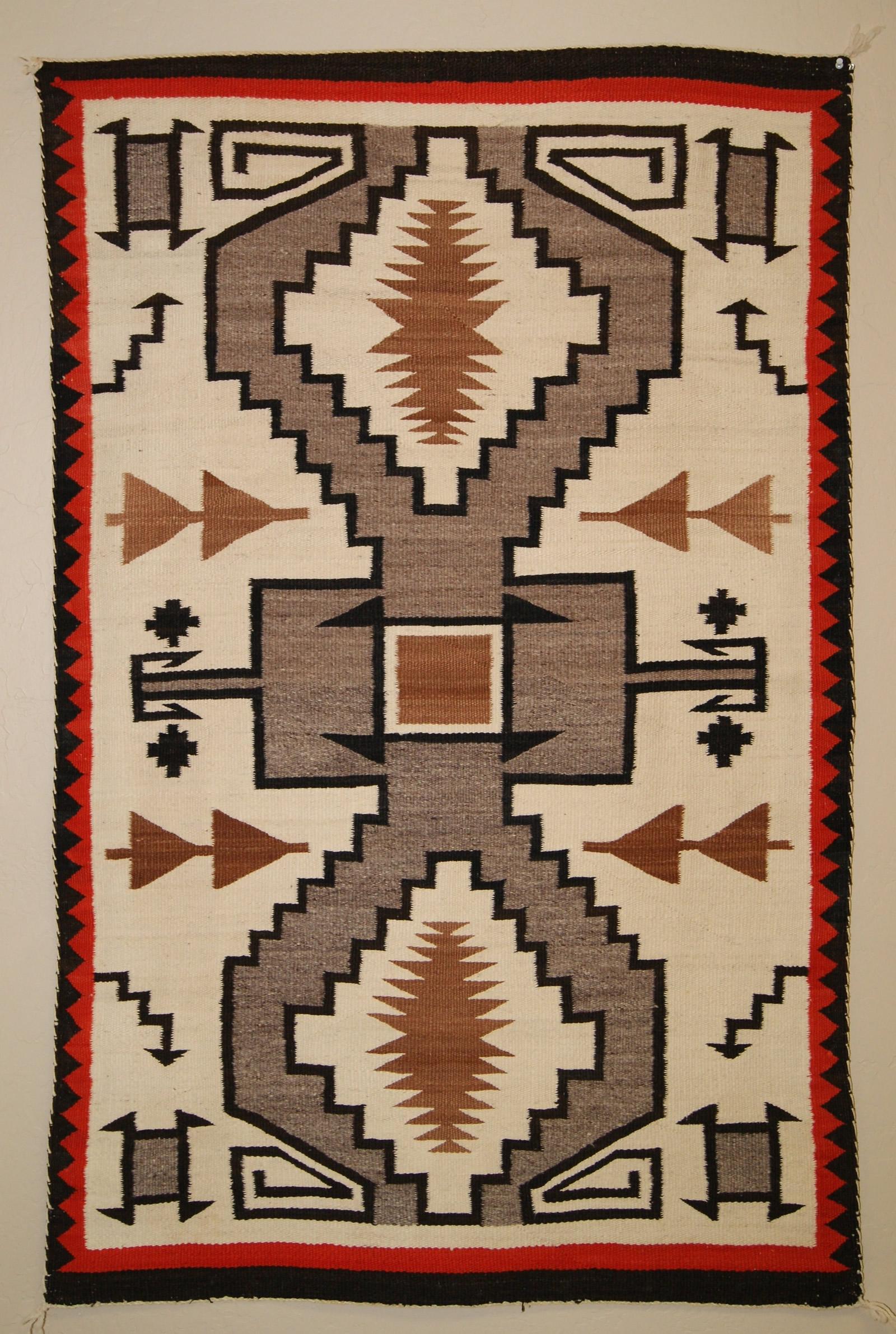 Historic Navajo Storm Pattern Navajo Rug For Sale