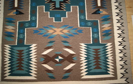 Contemporary Storm Pattern Navajo Rug Weaving For Sale