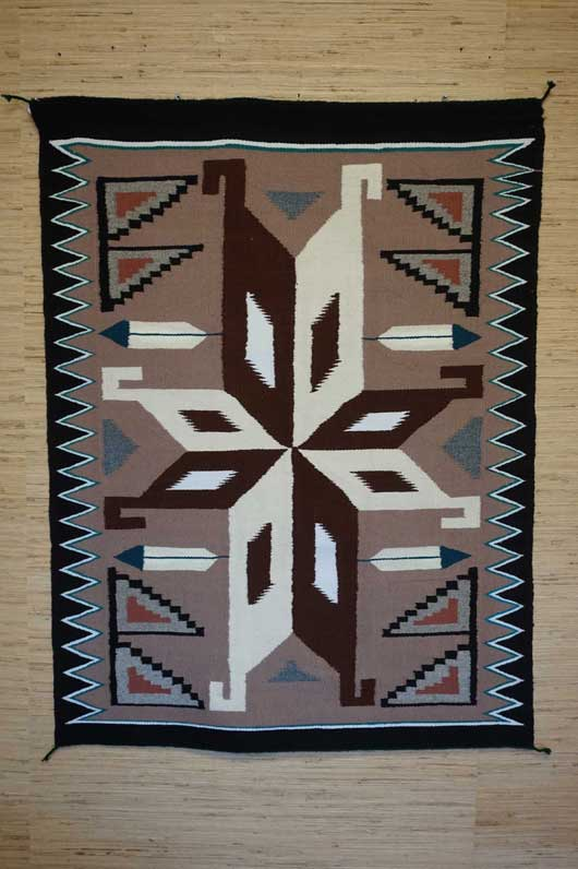 Teec Nos Pos Navajo Rug with a Star Format and Feathers