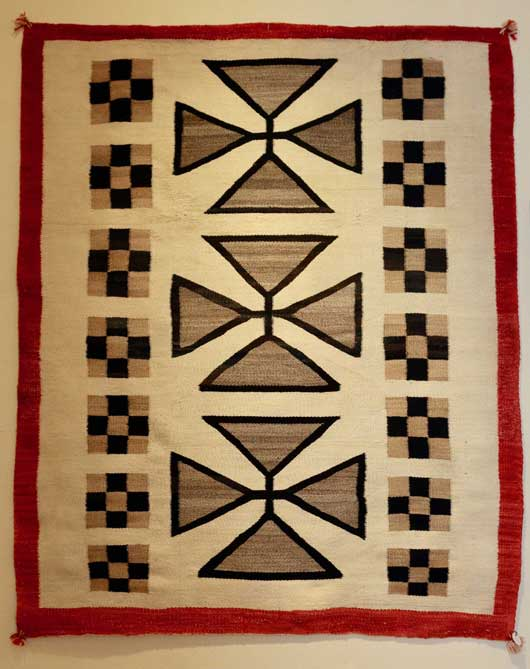 Three Column Format Navajo Rug for Sale with Maltese Crosses in the Center 1014