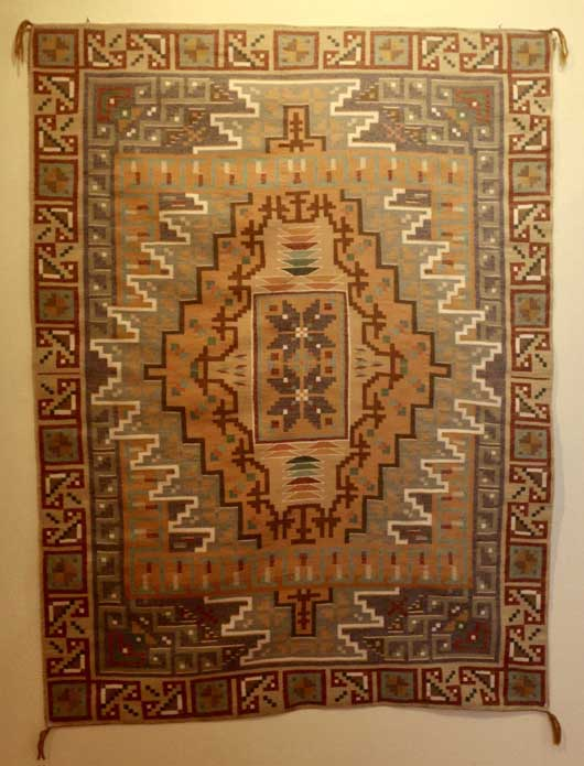 Three Turkey Ruins Burntwater Navajo Rug for Sale by Master Weaver Ruth Ann Tracy 548 for Sale