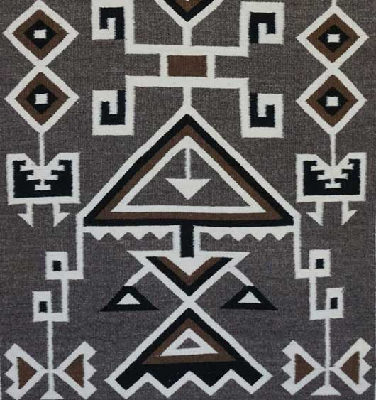 Toadlena Two Grey Hills Navajo Rug by Cara Gorman a Storm Pattern Variant 658