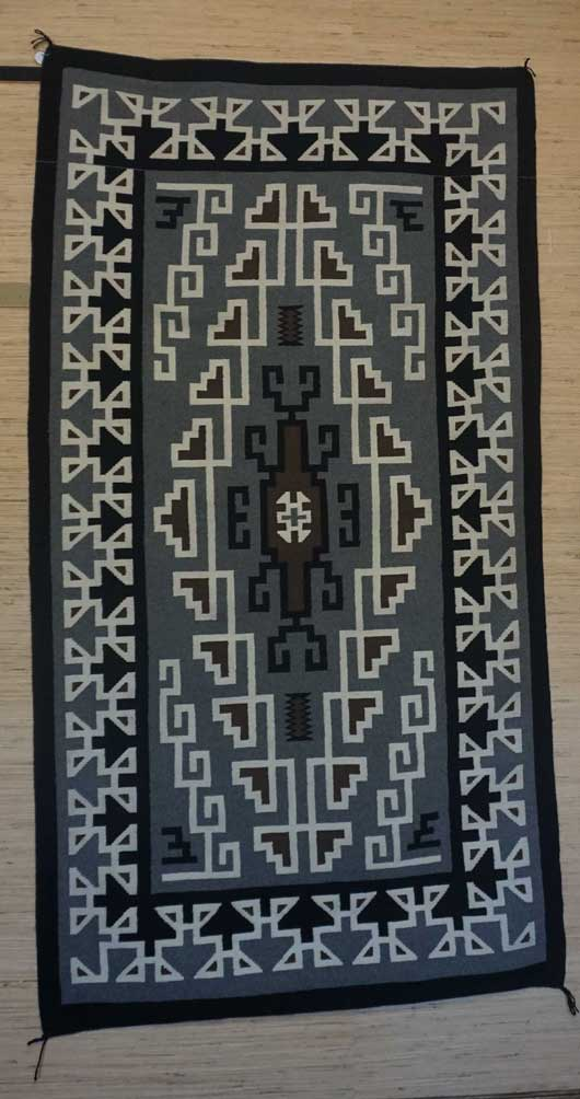 Featured Toadlena Two Grey Hills Navajo Rug for Sale 1048