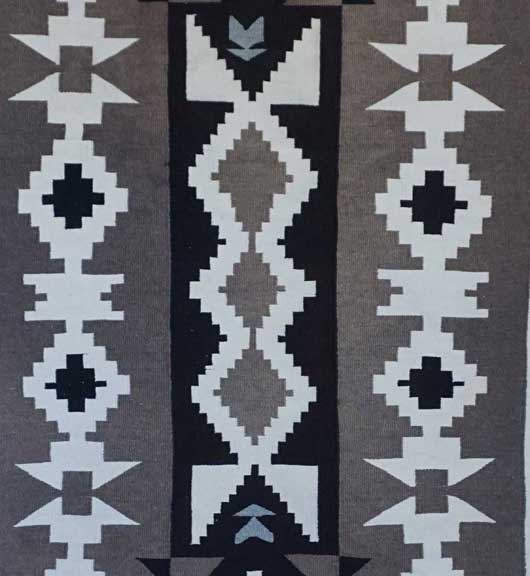 Toadlena Two Grey Hills Navajo Rug in a Three Column Format 851