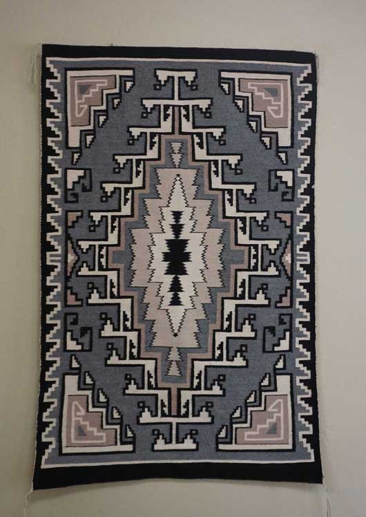 Navajo Rug Toadlena/Two Grey Hills Navajo weaving by Master Waver Daisy Taugelchee