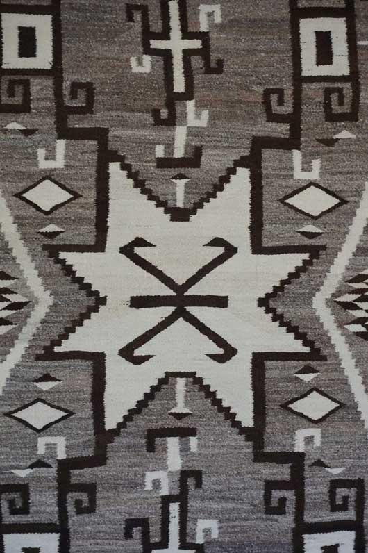 Toadlena Two Grey Hills Star Centered Storm Pattern Navajo Rug 1081