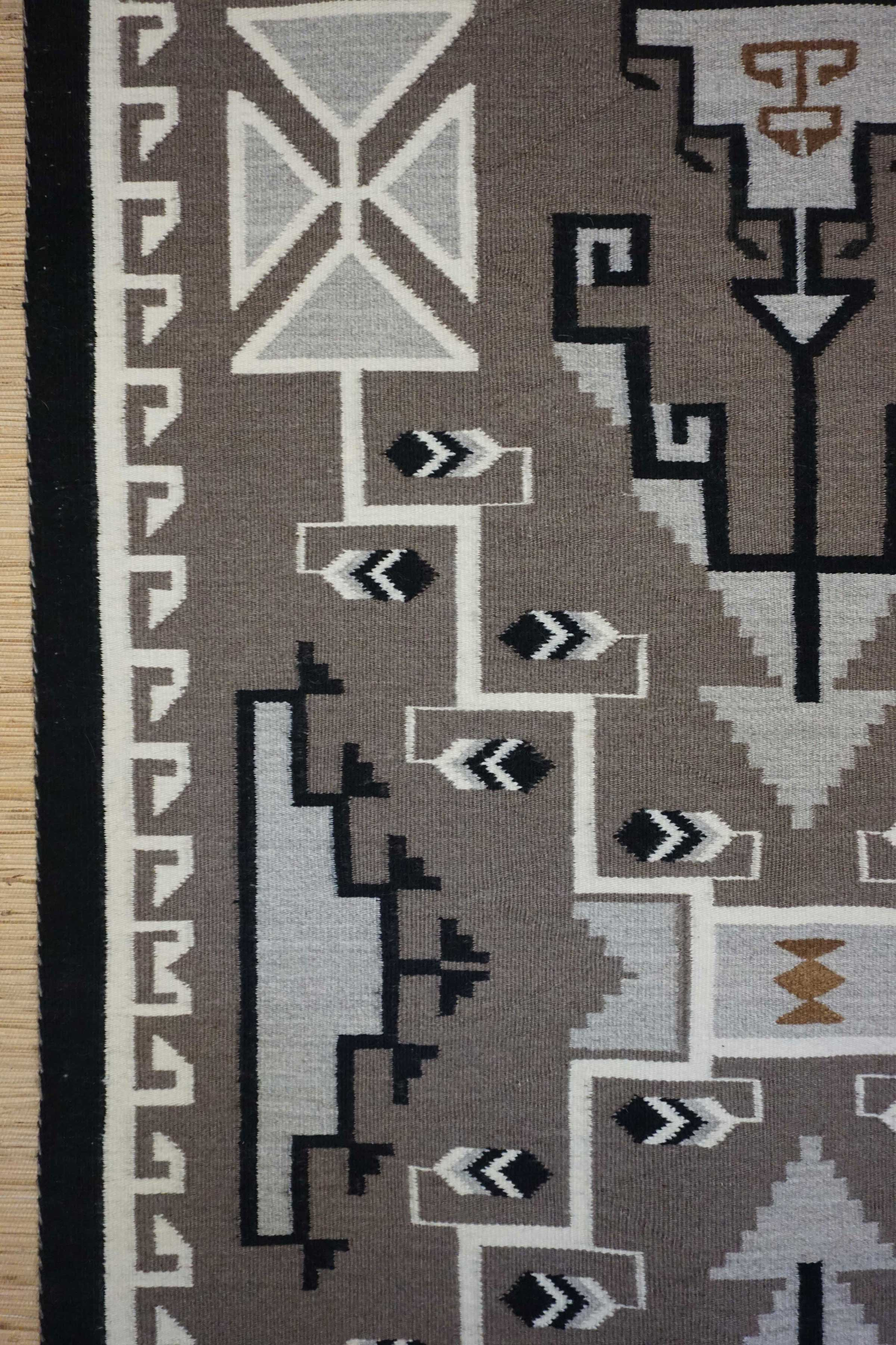 Toadlena Two Grey Hills Storm Pattern Navajo Rug For Sale