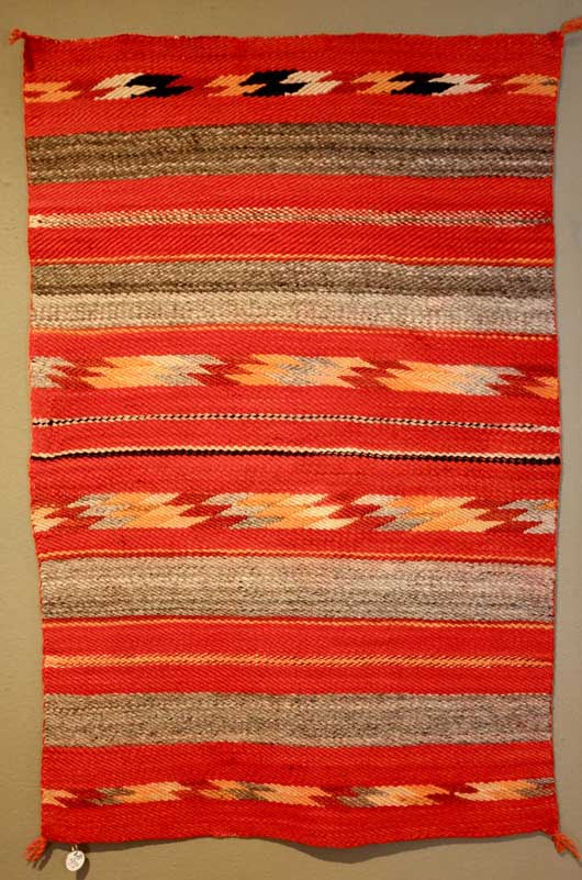 Transitional Navajo Saddle Blanket with Diagonal Weave
