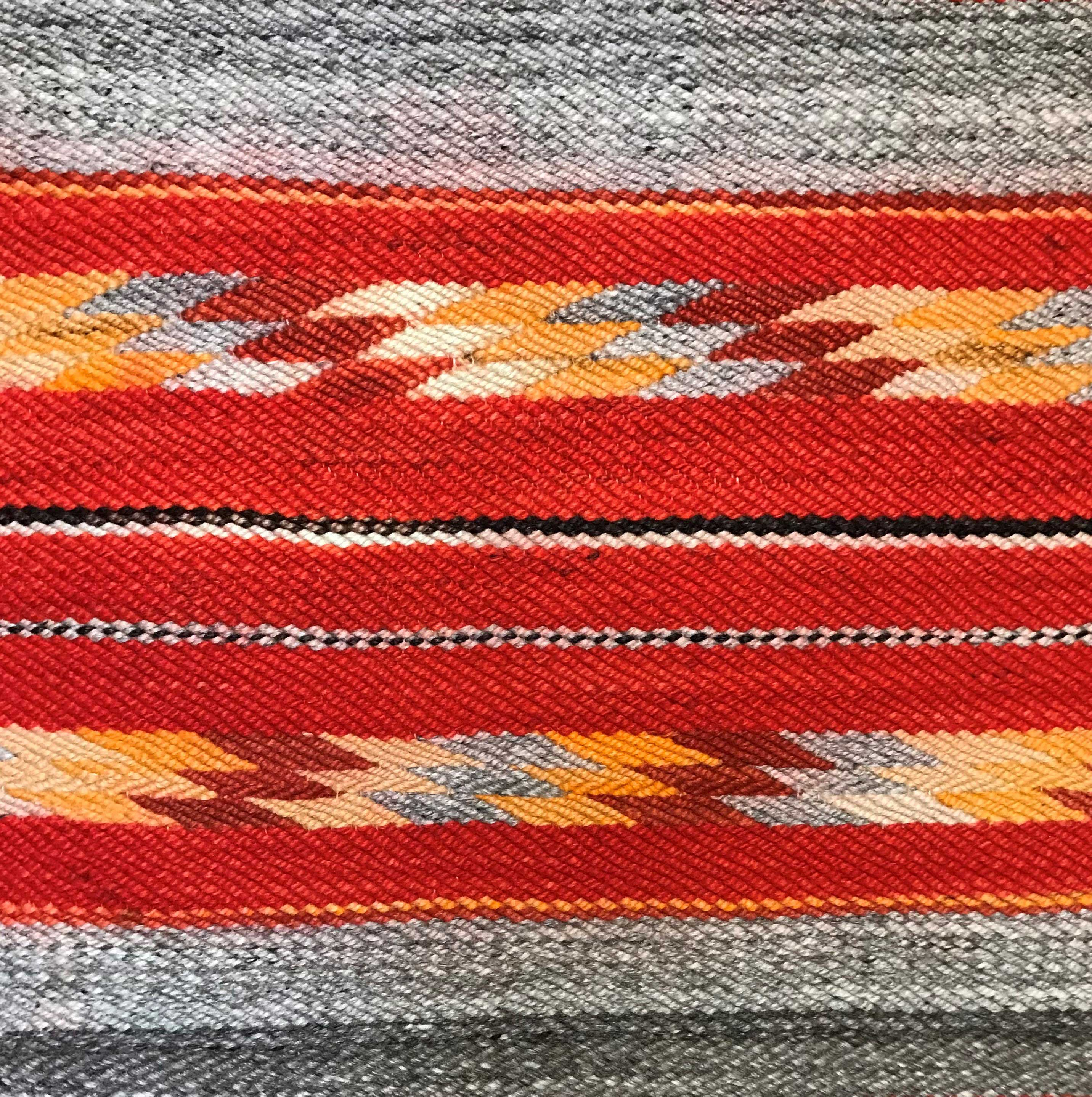 Transitional Navajo Saddle Blanket With Diagonal Weave 329
