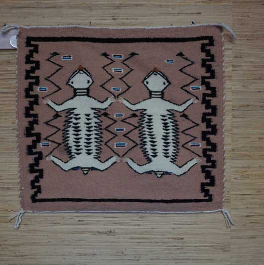 Two Horned Toads Pictorial with Rainbow Bars Germantown Navajo Blanket