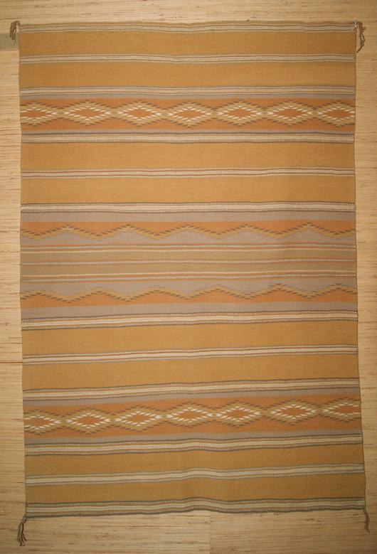 Vegetal Dyed Wide Ruins Navajo Weaving Circa 1967 443