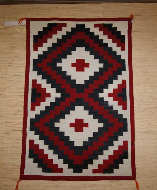 Double Diamond Ganado Navajo Weaving With Small Red
