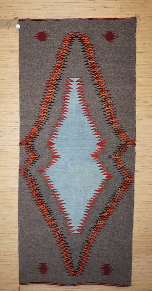 Navajo Runner With A Different Blue Central Figure