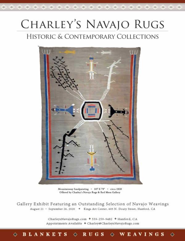 June July 2020 Native American Art Magazine Charley's Navajo Rugs Ad Image 001