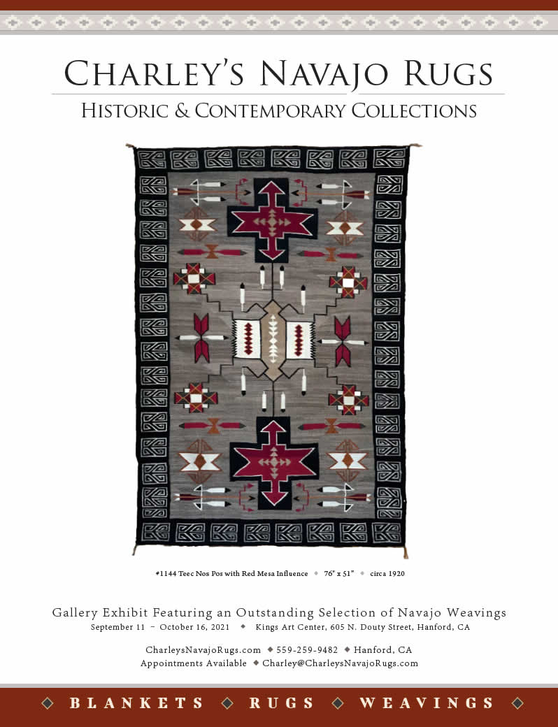 Image of Native American Art Magazine Ad June July 2021 Charley's Navajo Rugs