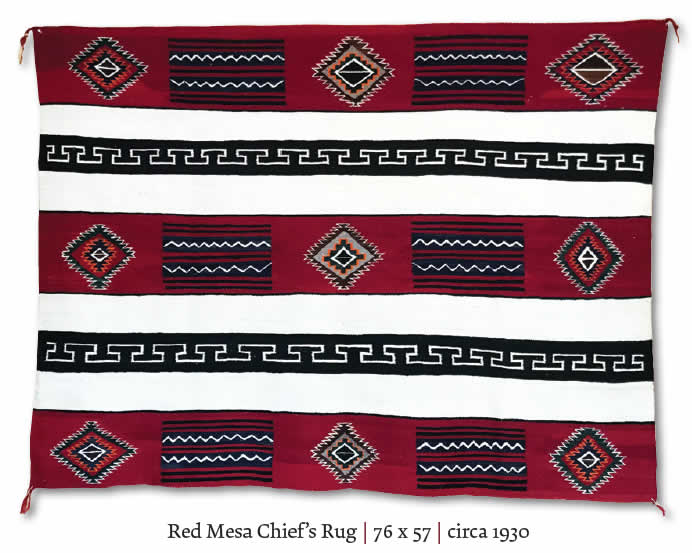 Red Mesa Chief's Navajo Rug Weaving as seen in Cowboys and Indians October 2021 Magazine Issue * Charley's Navajo Rugs for Sale